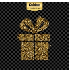 Gold glitter icon of gift box isolated on vector image