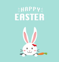 Happy easter bunny with carrot white bunny vector