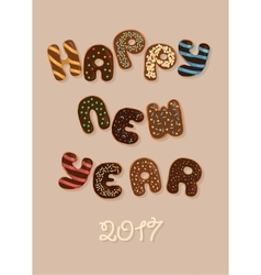 Happy new year 2017 chocolate donuts vector