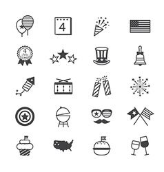 Independence day icons line vector