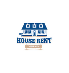 isolated blue color architectural house icon for vector image