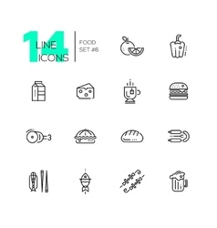 Kinds of Food Line Icons Set vector image vector image