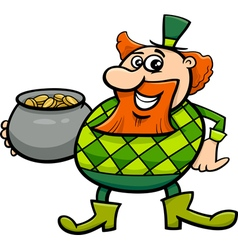 leprechaun with gold cartoon vector image vector image