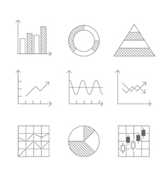 Lines icons set of graph and chart vector