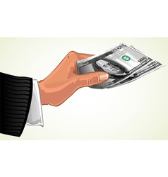 mans hand transferring two hundred dollars vector image