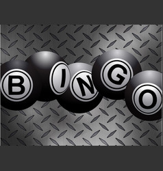 Metallic bingo balls over metal diamond plate vector