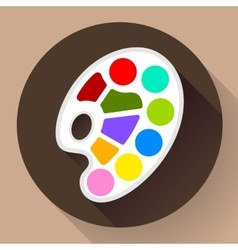 Palette icon with long shadow Flat design style vector image