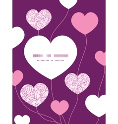 Pink flowers lineart heart symbol frame pattern vector