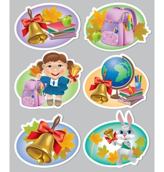 School stickers vector image vector image