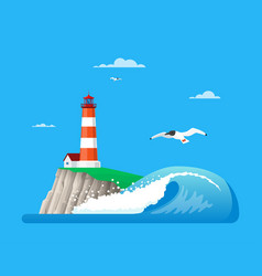 seascape with lighthouse in vector image
