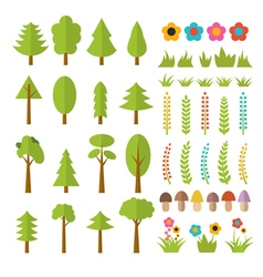 Set of flat forest elements include mushrooms vector