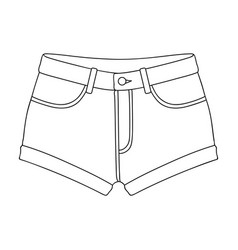Short purple women s shorts with a blue rubber vector