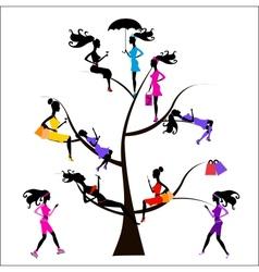Sociology tree different girls vector