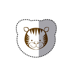 Sticker with brown line contour of face of tiger vector
