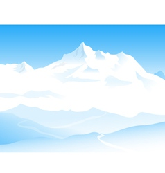 Winter landscape and snow peaks vector
