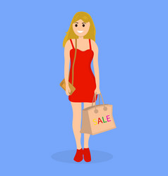 Young woman on a shopping sale with a bag vector