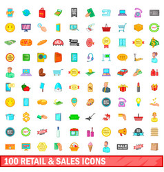 100 retail and sales icons set cartoon style vector