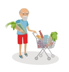 Senior man with shopping cart full of food vector