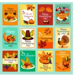 Thanksgiving day greeting cards posters set vector