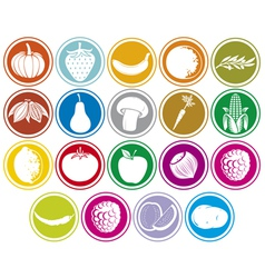 fruits and vegetables icons buttons set vector image