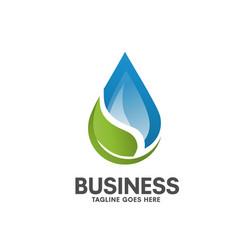 Pure healthy water leaf logo vector