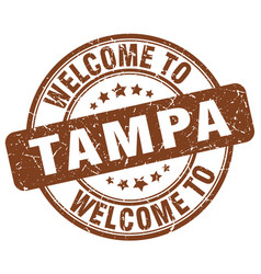 Welcome to tampa brown round vintage stamp vector