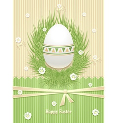 Easter egg with grass flowers ribbon vector