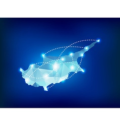 Cyprus country map polygonal with spot lights vector