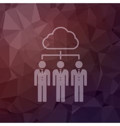 Three young man with cloud in flat style icon vector