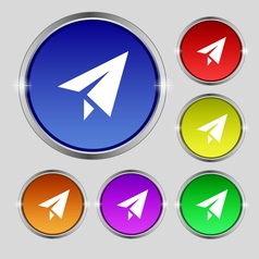 Paper airplane icon sign round symbol on bright vector