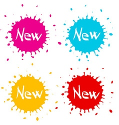 Red - orange - blue and pink splashes - blots - vector