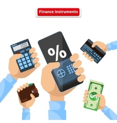 Finance instruments calculator smartphone money vector