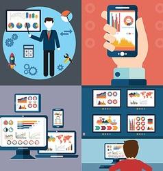 Flat design modern icons set of website SEO vector image