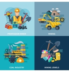 Mining icons flat set vector