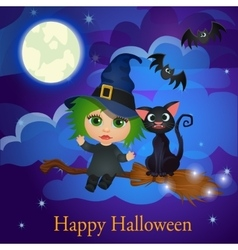 Witch and cat flying on a broom under the moon vector