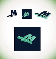 Letter m logo set green vector