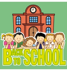School and children vector
