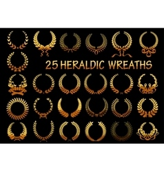 Heraldic golden laurel wreaths icons vector