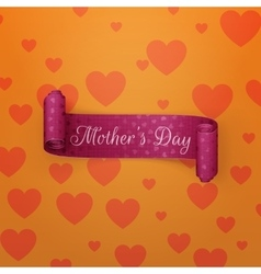 Mothers day text ob purple greeting scroll ribbon vector