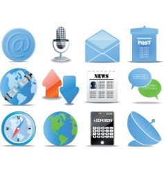 Communication icons blue versions vector