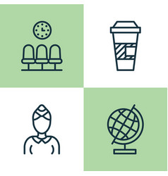 Airport icons set collection of seats takeaway vector