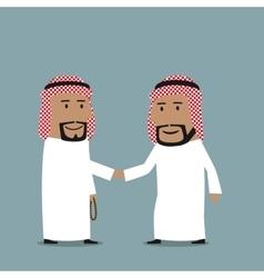 Business handshake of arab businessmen vector image