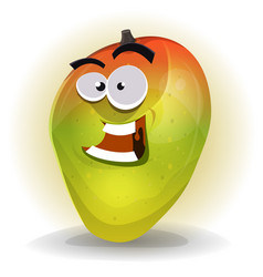 Cartoon funny mango character vector