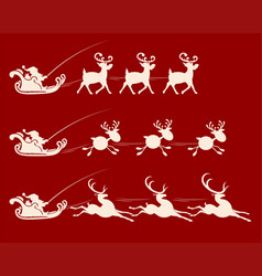 christmas sign with santa claus on a reindeer vector image vector image