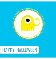 Cute cartoon yellow monster Blue background vector image