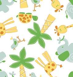 Cute jungle animals in a seamless pattern vector
