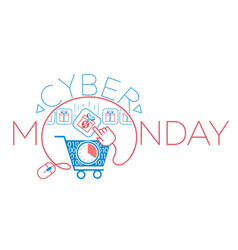 Cyber monday virtual cart gift vector