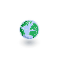 earth globe isometric flat icon 3d vector image