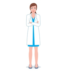 Female doctor with folded hands vector