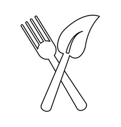 Fork leave healthy food symbol thin line vector